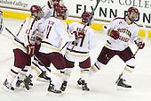 Johnny Gaudreau (BC - 13), Pat Mullane (BC - 11), Steven Whitney (BC - 21), Michael Matheson (BC - 5) - The Boston College Eagles defeated the visiting Boston University Terriers 5-2 on Saturday, December 1, 2012, at Kelley Rink in Conte Forum in Chestnut Hill, Massachusetts.