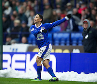 BOLTON, ENGLAND - Saturday, January 26, 2013: Everton's Steven Pienaar celebrates scoring the first goal against Bolton Wanderers during the FA Cup 4th Round match at the Reebok Stadium. (Pic by David Rawcliffe/Propaganda)