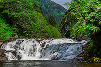 Lower Falls, Sawmill Creek, Sitka, Alaska USA.