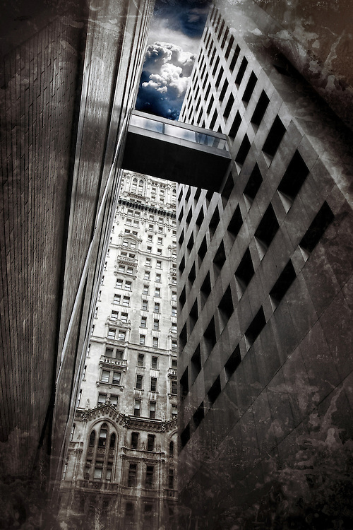 Narrow street between skyscrapers in Wall Street, New York City
