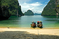 Longtail boats to shuttle kayakers around Phang Nga Bay to secret caves, hidden lagoons and secret beaches found among the more than 40 limestone islands within the 155-square mile Phang Nga Marine National Park. The unique boat uses a common diesel or gasoline engine attached to a pole for steering as well as propulsion.
