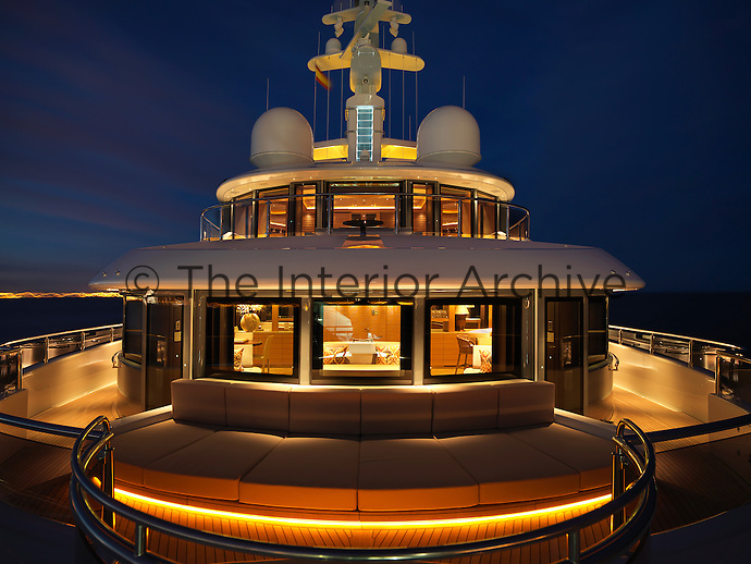A curved seating area takes advantage of the views available from the forward deck