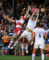 Gareth Evans and Duncan Taylor compete for a high ball. J.P. Morgan Premiership Rugby 7s match, between Saracens and Gloucester Rugby on August 3, 2012 at the Recreation Ground in Bath, England. Photo by: Patrick Khachfe / Onside Images