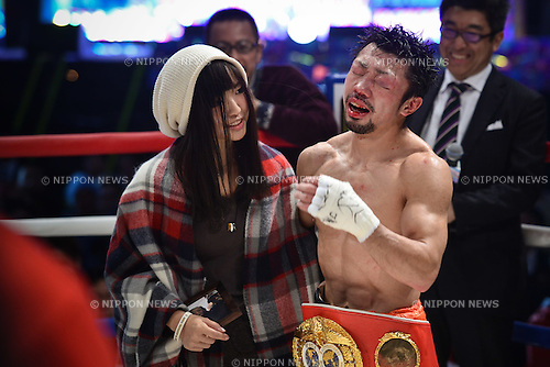 Akira Yaegashi (JPN),<br /> DECEMBER 29, 2015 - Boxing :<br /> Akira Yaegashi of Japan celebrates with his wife Aya after winning the IBF light flyweight title bout at Ariake Colosseum in Tokyo, Japan. (Photo by Hiroaki Yamaguchi/AFLO)Aya Yaegashi