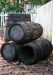 Three whisky barrels along picket fence, Colonial Williamsburg, Virginia,  Barrel, barrels, Three whisky barrels with white picket fence, white picket fence, fence, picket fence, whisky barrels, picket fence, barrel, barrels, Fine Art Photography by Ron Bennett, Fine Art, Fine Art photography, Art Photography, Copyright RonBennettPhotography.com ©