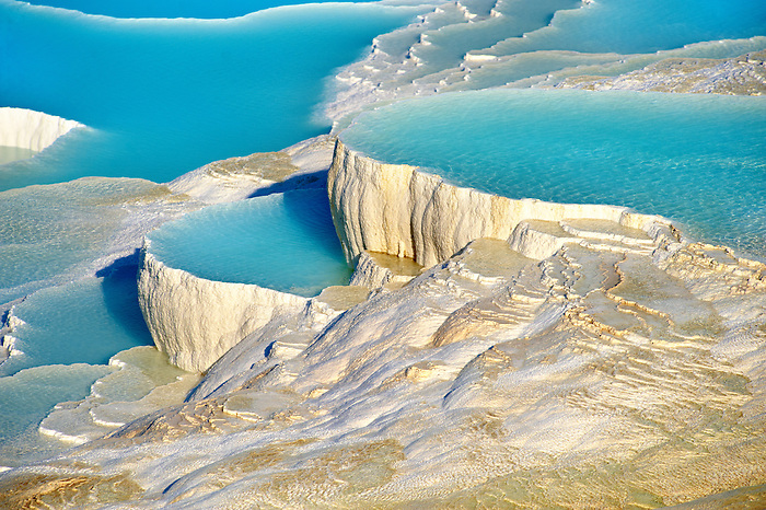 Photo & Image  of Pamukkale Travetine Terrace, Turkey. Picture of the white Calcium carbonate rock formations. Buy as stock photos or as photo art prints. 2 Pamukkale travetine terrace water cascades, composed of white Calcium carbonate rock formations, Pamukkale, Anatolia, Turkey