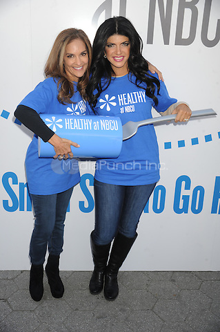 """Joy Bauer and Teresa Giuidice promote """"Healthy at NBCU"""" initiative's third annual """"Healthy Week"""" observance at Unions Square in New York City. October 11, 2012.. Credit: Dennis Van Tine/MediaPunch"""