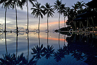 The perfectreflection at a resort pool in Palau, Micronesia Pacific