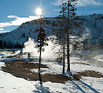 Snow Covered Boardwalk, Black Sand Basin, Winter, Yellowstone NP, WY