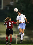 UNC's Yael Averbuch (32) jumps over NCSCU's Mandela Schumacher-Hodge (2) to head the ball on Thursday, October 20th, 2005 at Fetzer Field in Chapel Hill, North Carolina. The University of North Carolina Tarheels defeated the North Carolina State University Wolfpack 1-0 during an NCAA Division I Women's Soccer game.