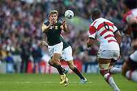 Patrick Lambie of South Africa receives the ball. Rugby World Cup Pool B match between South Africa and Japan on September 19, 2015 at the Brighton Community Stadium in Brighton, England. Photo by: Patrick Khachfe / Onside Images
