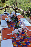 A table is covered with an African cloth and laid for lunch in the shade of trees beside the Marico River