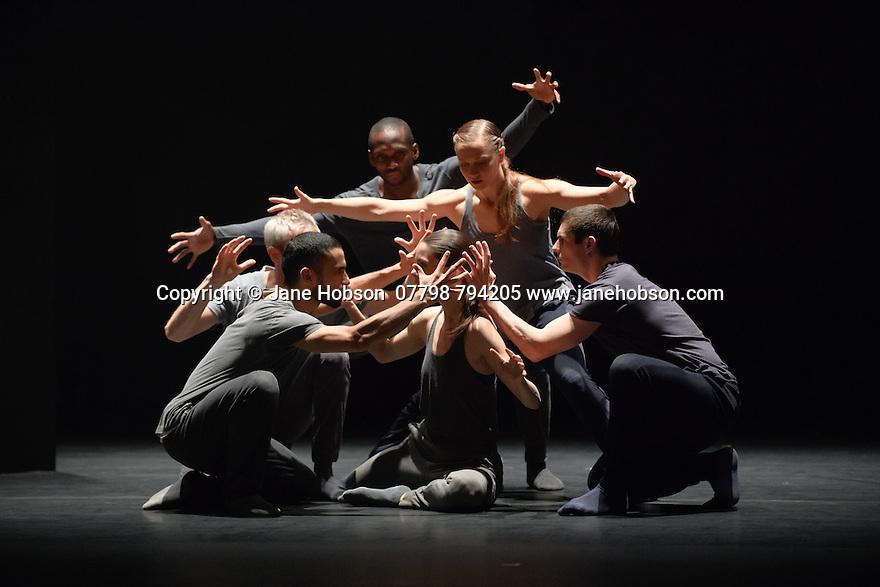 KiddPivot/Electric Company theatre presents BETROFFENHEIT, at Sadler's Wells. The dancers are: Bryan Arias, David Raymond, Cindy Salgado, Jermaine Spivey, Tiffany Tregarthen, Jonathon Young.