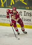 19 February 2016: Boston College Eagle Defenseman Scott Savage, a Junior from San Clemente, CA, in action during the first period against the University of Vermont Catamounts at Gutterson Fieldhouse in Burlington, Vermont. The Eagles defeated the Catamounts 3-1 in the first game of their weekend series. Mandatory Credit: Ed Wolfstein Photo *** RAW (NEF) Image File Available ***