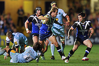 Nick Abendanon goes on the attack. Aviva Premiership match, between Bath Rugby and Northampton Saints on September 14, 2012 at the Recreation Ground in Bath, England. Photo by: Patrick Khachfe / Onside Images