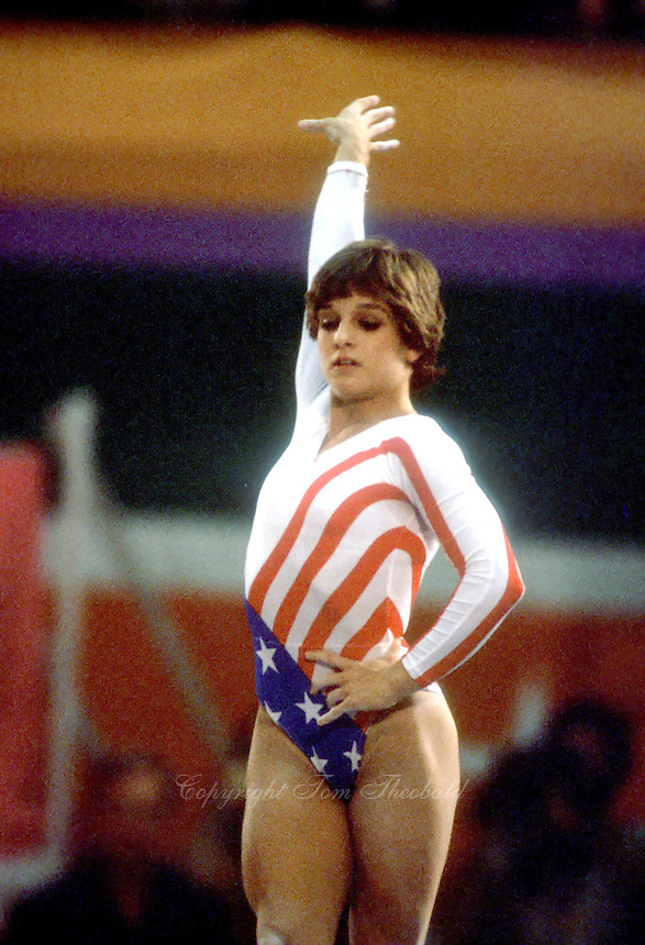 August 6, 1984; Los Angeles, California, USA; Artistic gymnastics star Mary Lou Retton of USA performs balance beam at 1984 Los Angeles Olympics. Copyright 1984 Tom Theobald