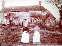 BNPS.co.uk (01202 558833)<br /> Pic: Strutt&amp;Parker/BNPS<br /> <br /> Victorian era picture of the farm workers cottages.<br /> <br /> A former 16th century shepherd's cottage that was the childhood home of 50s matinee idol Dirk Bogarde is now an idyllic country retreat for anyone who wants to get away from it all.<br /> <br /> The distinguished film actor and writer, star of Doctor in the House (1954), The Servant (1963) and A Bridge Too Far (1977), lived at Winton Fields as a teenager with his parents and siblings during holidays from his school in Scotland.<br /> <br /> The pretty flint house is on the edge of the highly sought after and picturesque village of Alfriston, East Sussex, and has stunning views of the South Downs National Park.<br /> <br /> It is now on the market with Strutt &amp; Parker for a guide price of &pound;950,000.