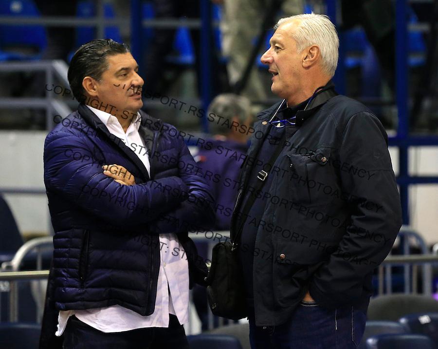 Kosarka ABA League season 2015-2016<br /> Crvena Zvezda v Partizan<br /> Goran Ristanovic (R) manager menadzer and Misko Raznatovic<br /> Beograd, 03.11.2015.<br /> foto: Srdjan Stevanovic/Starsportphoto&copy;