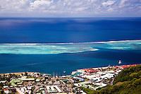 View of Uturoa Harbor, pass, and surrounding reefs from Raiatea island