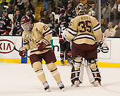 Steven Whitney (BC - 21), Parker Milner (BC - 35) - The Boston College Eagles defeated the Northeastern University Huskies 6-3 for their fourth consecutive Beanpot championship on Monday, February 11, 2013, at TD Garden in Boston, Massachusetts.