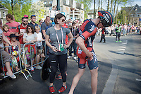 Stefan K&uuml;ng (SUI/BMC) checking the damage at the finish after having crashed in the prologue (while having ridden the fastest intermediate at that time)<br /> <br /> stage 1: Apeldoorn prologue 9.8km<br /> 99th Giro d'Italia 2016