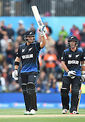14.02.2015. Christchurch, New Zealand.  Corey Anderson acknowledges his 50 during the ICC Cricket World Cup match between New Zealand and Sri Lanka at Hagley Oval in Christchurch, New Zealand. Saturday 14 February 2015.