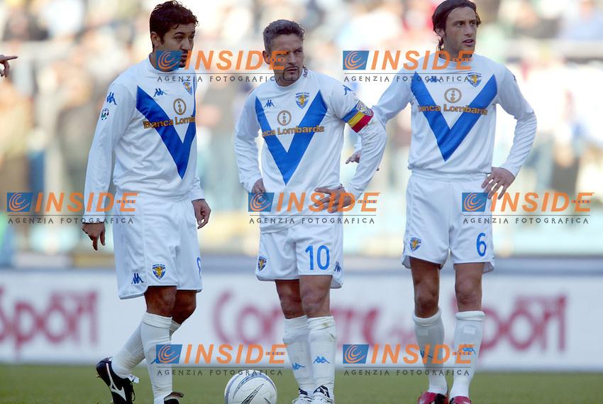 Roma 11/1/2004 <br /> Lazio Brescia 0-1 <br /> Matuzalem Baggio e Mauri<br /> Photo Andrea Staccioli Insidefoto