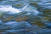 Waves of water rushing over boulders in Big Creek Montana