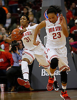 Ohio State's Raven Ferguson (31) passes down court during a women's basketball game between the Ohio State Buckeyes and the North Carolina Central Eagles on December 29, 2013 at Value City Arena. (Columbus Dispatch photo by Fred Squillante)