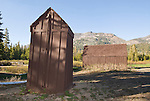Brown outhouse between the cabin and the shed at the cow camp in Tryon Meadow in the high Sierra Nevada of California...