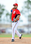 25 February 2012: Washington Nationals' pitcher Henry Rodriguez works on the mound during the first full squad Spring Training workout at the Carl Barger Baseball Complex in Viera, Florida. Mandatory Credit: Ed Wolfstein Photo