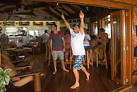 Cloudbreak, Namotu Island/Fiji (Friday, June 7, 2013) Yadin Nichol (AUS) claims victory over Joel Parkinson (AUS) in  a darts game during the lay day. The pair will meet in a Round 3 heat when the compition resumes.- The Volcom Fiji Pro was  finally called off  at 11 am this morning after a number of calls to evaluating the conditions proved fruitless. The vent had been on hold since 7.30 am with organisers  hoping that conditions would improve.<br /> Stop No. 4 of 10 on the ASP World Championship Tour (WCT), the Volcom Fiji Pro  has completed up to heat three of Round 3 and will now wait to see how the winds and a new swell due over the weekend improves the conditions. <br />  Photo: joliphotos.com