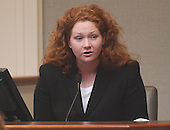 Fairfax County (Virginia) police officer Marta Goodwin testifies during the trial of sniper suspect John Allen Muhammad in courtroom 10 at the Virginia Beach Circuit Court in Virginia Beach, Virginia on October 30, 2003. <br /> Goodwin testified that she saw a dark colored Chevrolet Caprice in the area of the Linda Franklin shooting on October 14, 2002 in Arlington Virginia. <br /> Credit: Adrin Snider - Pool via CNP