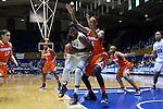 08 January 2015: Duke's Elizabeth Williams (left) and Syracuse's Briana Day (50). The Duke University Blue Devils hosted the Syracuse University Orange at Cameron Indoor Stadium in Durham, North Carolina in a 2014-15 NCAA Division I Women's Basketball game. Duke won the game 74-72.