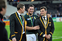 Francois Louw of South Africa has a chat with team-mates Jean de Villiers and Schalk Brits after the match. Rugby World Cup Bronze Final between South Africa and Argentina on October 30, 2015 at The Stadium, Queen Elizabeth Olympic Park in London, England. Photo by: Patrick Khachfe / Onside Images