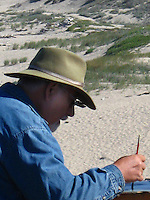 Edwin Bertolet painting in the plein air style at Pescadero State Beach south of San Francisco off Highway 1.