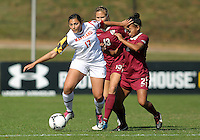 COLLEGE PARK, MD - OCTOBER 21, 2012:  Gabby Galanti (17) of the University of Maryland pushes away from Ines Jaurena (2) of Florida State during an ACC women's match at Ludwig Field in College Park, MD. on October 21. Florida won 1-0.