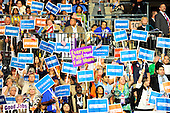 Signs in the crowd during the keynote Address of Mayor Julian Castro of San Antonio, Texas and candidate for the United States House of Representatives at the 2012 Democratic National Convention in Charlotte, North Carolina on Tuesday, September 4, 2012.  .Credit: Ron Sachs / CNP.(RESTRICTION: NO New York or New Jersey Newspapers or newspapers within a 75 mile radius of New York City)