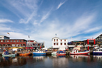 Harbor and shopping area in Warnemunde, Germany, a small fishing village and district of Rostock.