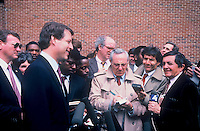 Al Gore former Vice President Of the United States after a speech at Adelphi University in<br /> Garden City New York USA <br /> in 1986 Talks with reporters.<br /> By: Jonathan L Green
