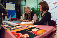 US actor John de Lancie (L) attends an autograph session during a meeting with his fans in Budapest, Hungary on January 11, 2015. ATTILA VOLGYI