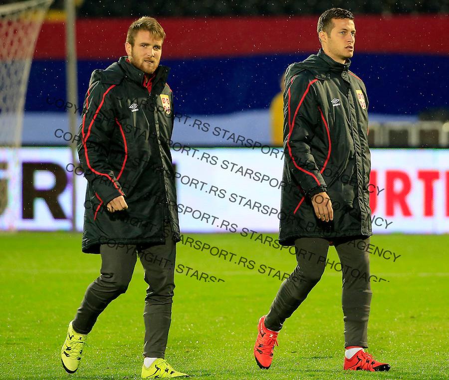 Fudbal, kvalifikacije za UEFA EURO 2016 qualifiers-Qualifying round - Group I<br /> Srbija v Portugal<br /> Aleksandar Katai (L) and Uros Spajic<br /> Beograd, 11.10.2015.<br /> foto: Srdjan Stevanovic/Starsportphoto &copy;