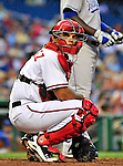 21 June 2010: Washington Nationals' catcher Ivan Rodriguez looks back to the dugout during a game against the Kansas City Royals at Nationals Park in Washington, DC. The Nationals edged out the Royals 2-1 in the first game of their 3-game interleague series, snapping a 6-game losing streak. Mandatory Credit: Ed Wolfstein Photo