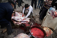 Men butcher a cow outside of a small mosque in the Old City of Kashgar, Xinjiang, China.