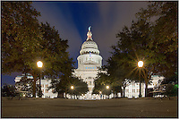 From ground level, this photograph shows the iconic capitol of Texas. I leveled my cameral on the front walkway leading to the steps of the building, set the timer, and allowed for a long exposure to brighten the nighttime shot.
