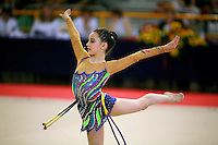 Monica Mincheva of Bulgaria pivots with rope at 2006 Trofeo Cariprato in Prato, Italy on June 17, 2006.  (Photo by Tom Theobald)