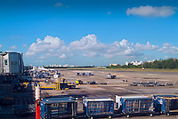 Ft Lauderdale Florida, Airport, Planes Boarding at Gate, Taxiing, Cargo Carts