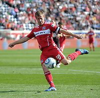 Chicago Fire forward Brian McBride (20) shoots the ball.  The Chicago Fire tied DC United 0-0 at Toyota Park in Bridgeview, IL on Oct. 16, 2010.