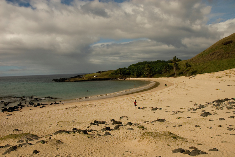 Chile, Easter Island: Anakena Beach, a white coral sand beach with palm trees and several restored moai or statues..Photo #: ch286-32744..Photo copyright Lee Foster www.fostertravel.com lee@fostertravel.com 510-549-2202