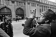 24 Mar 1970 --- A New York City postal worker makes a gesture during an eight-day strike involving 30 major U.S. cities. --- Image by © JP Laffont/Sygma/CORBIS
